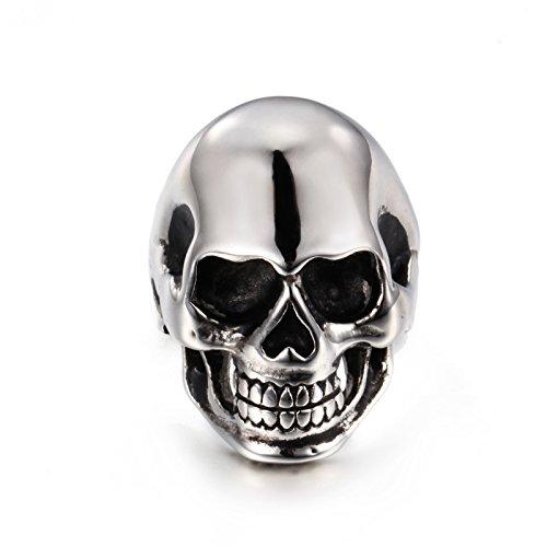 NELSON KENT Cabeza de cráneo negro para hombre Cabeza de fantasma Anillo de acero titanio para plata, tamaño 25