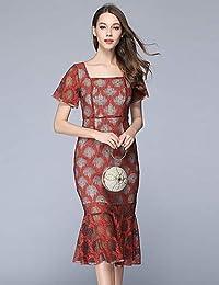 99b67748f YFLTZ Vestido Ajustado Vintage Sofisticado para Mujer -  Encaje Encaje Encaje Geométrico de Color sólido…