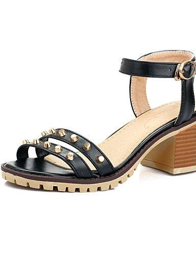 UWSZZ IL Sandali eleganti comfort Scarpe Donna-Sandali / Scarpe col tacco-Tempo libero / Formale / Casual-Tacchi / Spuntate-Quadrato-Finta pelle-Nero / Blu / Rosa / Bianco Black