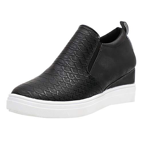 ZahuihuiM_Chaussures de rehaussement pour Les Femmes Chaussures à glissière Plates Chaussures Simples Taille Plus Booties Etudiants Augmenter au Sein de Chaussures compensées