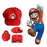 Mario Bros sombrero clásico Cappy Traje de Cosplay del casquillo del traje del desgaste del partido de Halloween para adultos y niños (rojo)