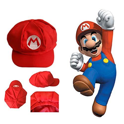 Mario Bros Hut Klassisches Cappy Cap-Kostüm Cosplay Kostüm tragen Halloween-Party für Erwachsene und Kinder (rot)