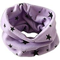 Bufanda RUIIO para invierno, cálido diseño de estrellas, de algodón, gorro, cuello, para niños y niñas., algodón, Morado, 40 x 40 cm