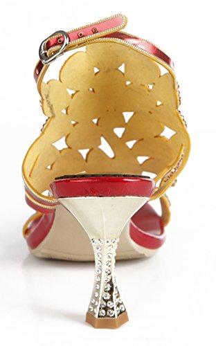 Honeystore 2017 Neuheiten Frauen Kunstleder Weinglas Absatz Pfau Sandalen Slingpumps mit Strass Schuhe Rot