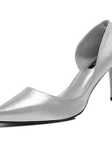 WSS 2016 Chaussures Femme-Mariage / Décontracté / Soirée & Evénement-Argent-Talon Aiguille-Talons-Chaussures à Talons-Cuir Verni silver-us5 / eu35 / uk3 / cn34