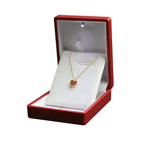 (Tyhbelle Hochwertige Schmuckkästen mit LED-Licht Samt Etui Halskette Box für Valentinstag (Rot-für Halskette))