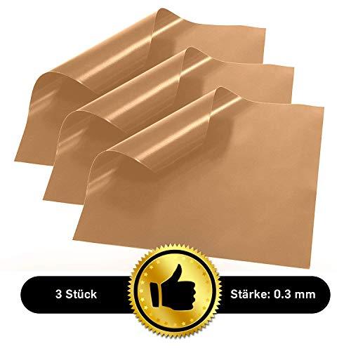 Collory Premium Dauerbackfolie (3er Set) | 40x33cm und 0.3mm dick | Teflon antihaftbeschichtete Backunterlage | Wiederverwendbares Backpapier | Backmatte & Grillmatte für Kohle-, Gas-, E-Grill und Backofen | Dauerbackmatte | Lebensmittelecht BPA-Frei | Braun