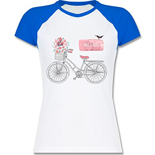 Shirtracer Vintage - Fahrrad Take a Ride Watercolour - Zweifarbiges Baseballshirt/Raglan T-Shirt für Damen Weiß/Royalblau