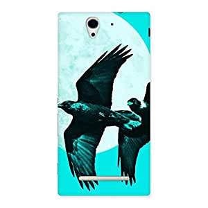 Impressive Raven Cyan Back Case Cover for Sony Xperia C3