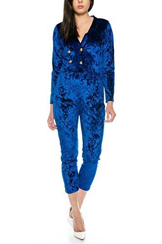 Crazy Age Velvet Jumpsuit Nicki Anzug Samt Overall (Blau, S~32/34)