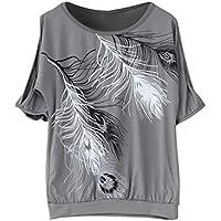 SeniorMar Frauen Weg vom Schulter-Feder-Druck-Spitzen-Sommer-beiläufigen Art-T-Shirt Tropfen-Verschiffen Großverkauf