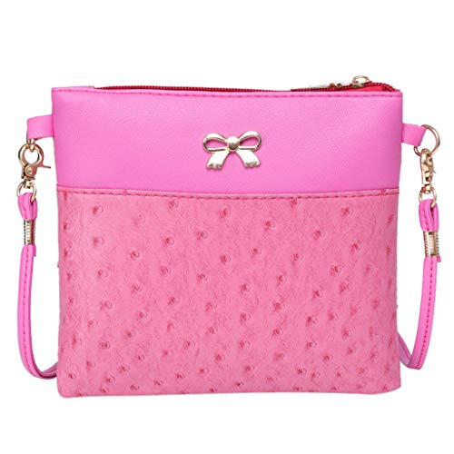 TianWlio Handtasche Damen Frauen Umhängetasche Bogen Dekoration Umhängetasche Hit Farbe Umhängetaschen Rosa