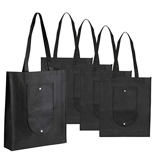 6b9dd9b7cc1 LEMESO 5 Bolsas Reutilizables no Tejido Bolsa de Compras Plegable (Negro)
