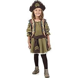 Disfraz de pirata auténtico para niña, marrón.