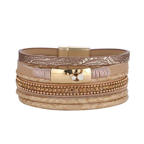 Bracelet HKFV Perlenrhinestones-Legierungs-Armband-Aufbruch-Acrylschicht-Armband für Frauen Strass Kugel Armband (Kaffee) (- Stil Doppel-kugel)