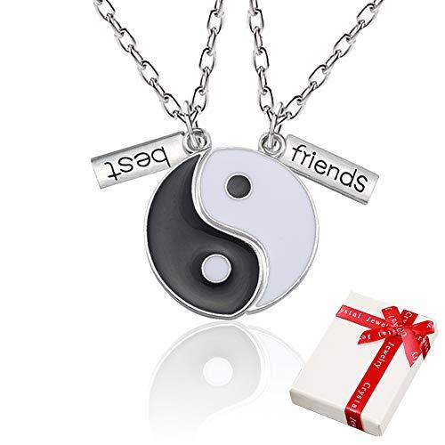 Yin Yang Taichi kette Anhänger Silber für Paar Pärchen,2 Stück Freundschaftsketten ying yang Haslkette mit Gravur Best Friends,Schmuck Partnerketten für beste Freunde,Liebhaber und Couple Geschenke