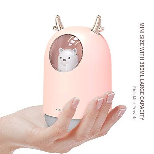 Fesjoy Humidificador de Niebla Fría - Mini Humidificador Silencioso USB con luz de Respiración, Apagado...