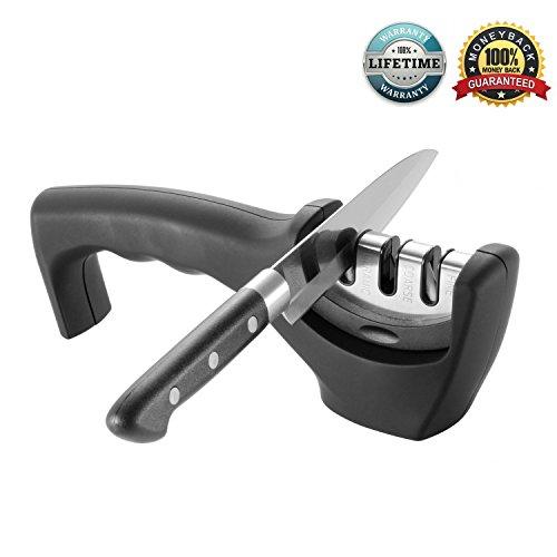 Amjuk, Küche-Messerschärfer, 3-stufig, Professionelles Messerschärf-System, schärft Stahl- und Keramikmesser in allen Größen, Schwarz