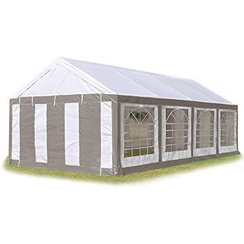 Tente de réception 4x8 m, toile de haute qualité 240g/m² PE gris-blanc construction en acier galvanisé avec raccordement par vissage