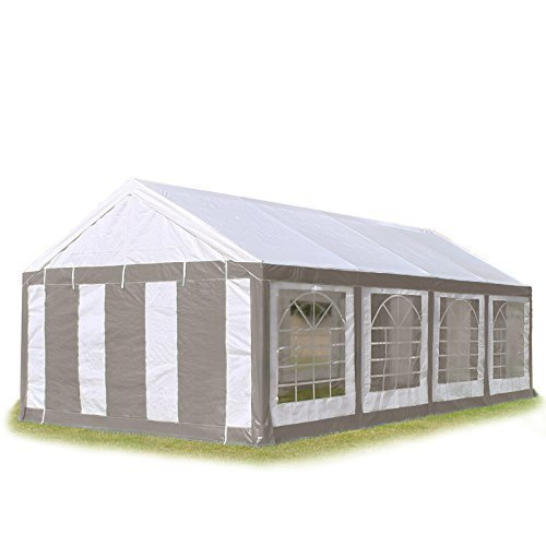 Hochwertiges Partyzelt 4x8 8x4 m Pavillon Zelt 240g/m² PE Plane Gartenzelt Festzelt Bierzelt ! Stahlkonstruktion ! Wasserdicht! Inkl. Seitenteile + Giebelteile ! grau-weiß