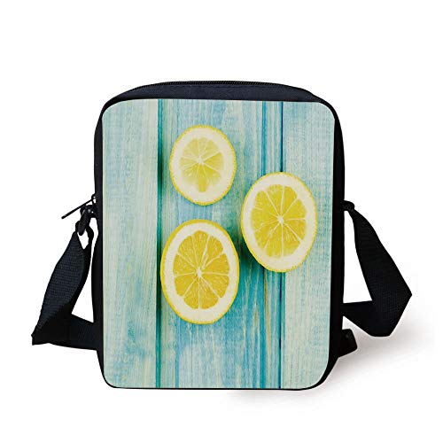 LULABE Yellow and Blue,Juicy Lemon Slices on Old Wooden Planks Porch Summer Refreshing Image,Yellow Sky Blue Print Kids Crossbody Messenger Bag Purse (Ball Bowling Womens)