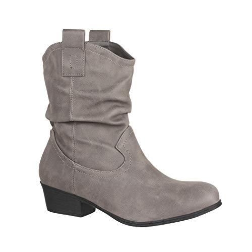 Elara Damen Schlupf Stiefel | Reiter Stiefeletten | Biker Boots Kult | Gefüttert LR9036 Grey-37