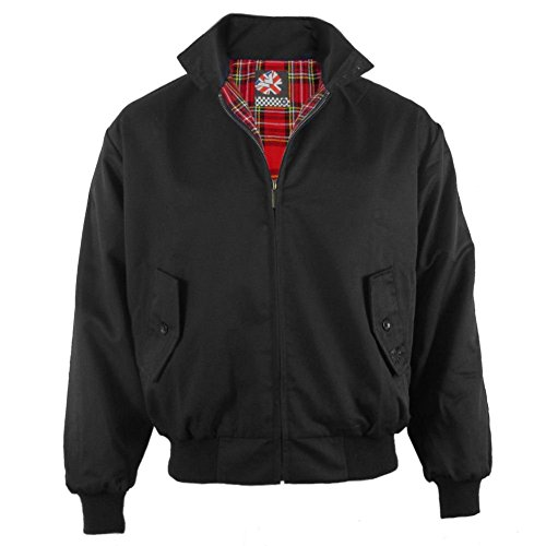 Warrior - Harrington - Giubbino uomo mod con fodera scozzese - nero - XL