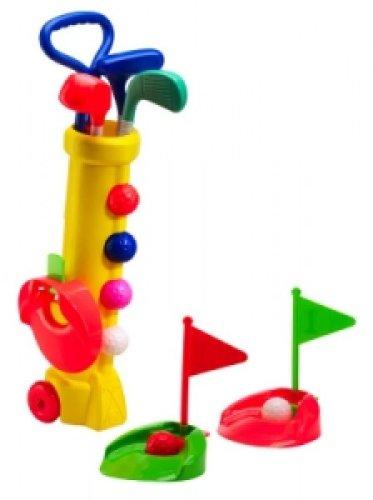 Silverline Mini-Golf-Set für Kinder ab 3 Jahren - Trolley-Bag + Schläger + Bälle + Löcher mit Fähnchen (Gelbes Bag -