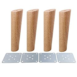 4Pcs Wood Sofa Feet Oblique Tapered Wooden Furniture Legs Wood Color, 18cm with White Box