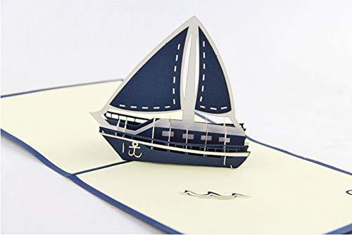 Handgemachte 3D Popup Karte blau Saling Boot Royal Navy Geburtstag Hochzeitstag Abschluss Valentinstag Weihnachten Ozean Angeln Anker Urlaub