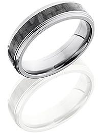 SlipRock Titanium, Carbon Fiber Inlay Beveled Flat Wedding Band (sz H to Z1)