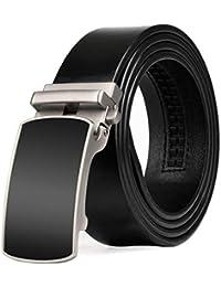 FuweiEncore Cinturón de Cuero Simple Casual para Hombres con Hebilla  automática para Uso empresarial y Jeans f126e426e145