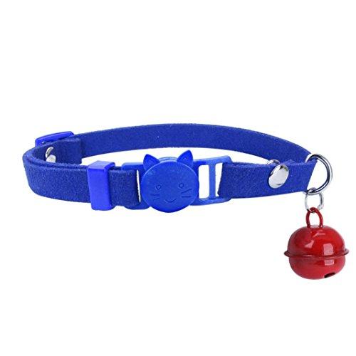 Microfiber Katzen Kopf Schließen Justierbares Haustier Kragen Welpen Hundekatzen Bell Halskette Für Das Gehen An (blue) (Hundehalsbänder, Katze, Haustier-kragen)