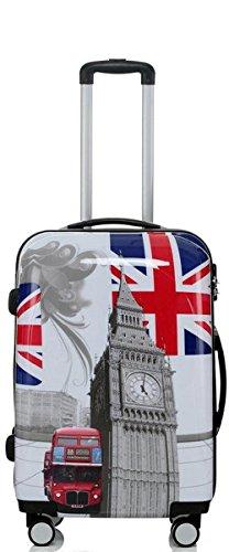 set di fino a 3 valigie bagaglio trolley abs policarbonato rigido leggero 4 ruote 360° con motivo BB (Bus da Londra, L)
