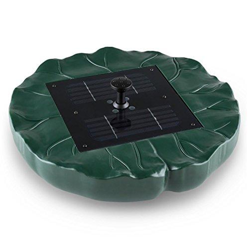 Waldbeck Sunfountain - Springbrunnen, Solar, Stromnetzunabhängig, frei schwimmend, 4 Verschiedene Fontänen, 150 L/h Pumpenleistung, max Fontänenhöhe von 0,5m, Lichterspiel durch 4 LEDs, grün