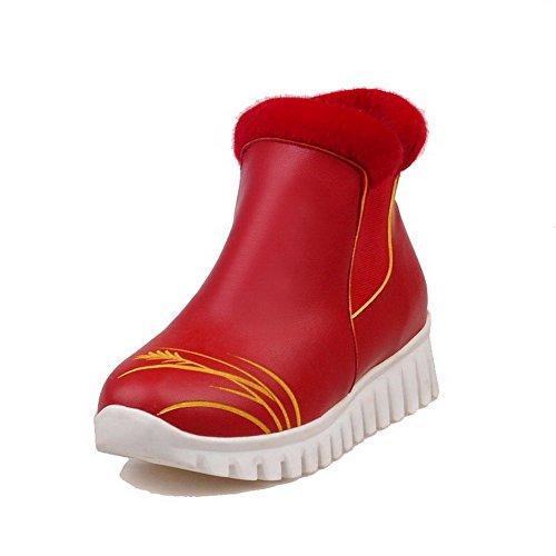 VogueZone009 Donna Luccichio Bassa Altezza Colore Assortito Tirare Tacco Basso Stivali Rosso