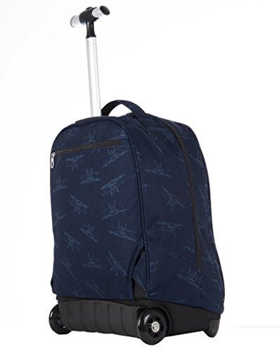 TROLLEY INVICTA - FREE -2en1 Sac à dos à roulettes avec bretelles escamotable - bleu 35Lt