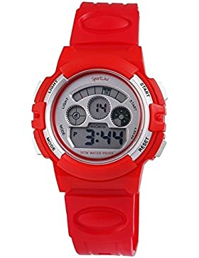 Digital-Armbanduhr Grau Rot + Box Quarz Silikon Damenuhr Kinderuhr Herrenuhr Unisex Sport Alarm Licht Stoppuhr...