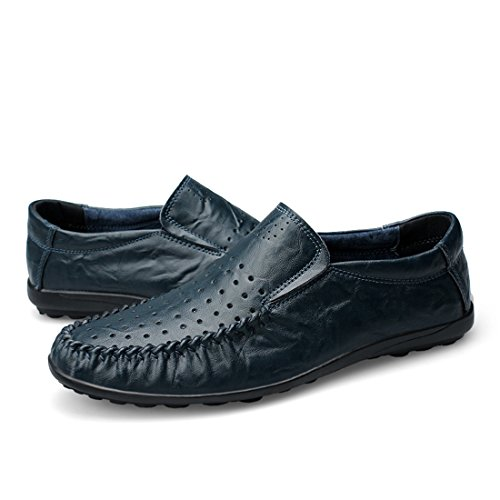 Minitoo Boys Mens Slip-On Spring Summer Shoes Breathable Loafers Dark Blue