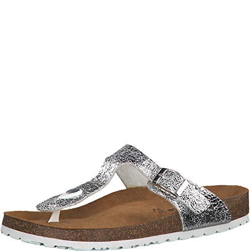 Tamaris 1-1-27531-22 Damen FlipflopsLeder,Sandale,hochwertig,bequem,leicht,Sommer,Strand Schuhe,Silver Metall,36 EU