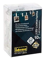 Idena 30130 - Lichterkette mit 10 LED warmweiß in Klammerform, 10 beleuchtete Clips für Fotos, mit 6 Stunden Timer Funktion, Batterie betrieben, für Hochzeit, Party, Deko, als Stimmungslicht