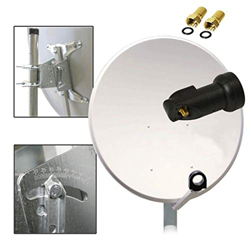 PremiumX 100cm Sat Antenne Stahl Hellgrau + Digital Single LNB FULLHD + Stecker