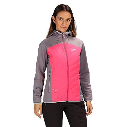 Regatta Damen Andreson IV Lightweight Insulated and Water Repellent Hybrid Down Jacke Rock Grey/Neon Pink 42