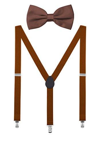 DEBAIJIA Unisex Hosenträger mit Fliege Set für Damen Herren Jugendliche Schick Design 3 Clips Elastisch Gürtel Längeverstellbar 155-180 Körperhöhe - Retro Braun (Und Hosenträger Clip-fliege)
