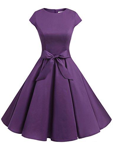 Dressystar Damen Vintage 50er Cap Sleeves Dot Einfarbig Rockabilly Swing Kleider Violett XS