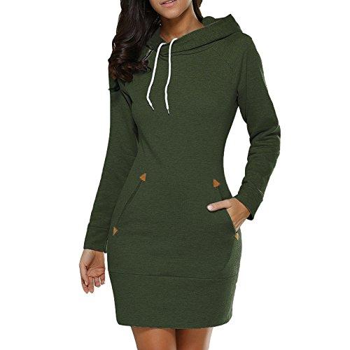 Manbozix Sweat à Capuche Dautomne pour Femme Robe en Sueur Vert