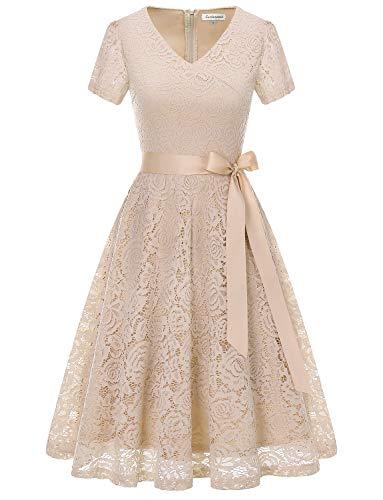 Gardenwed Damen V-Ausschnitt Kurz Brautjungfer Kleid Cocktail Abendkleid Spitzenkleid Champagne 2XL