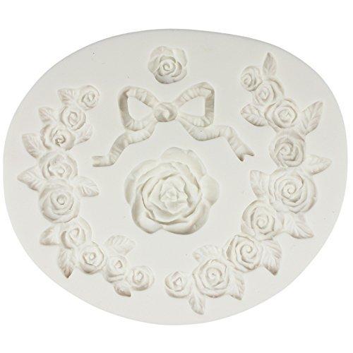 musykrafties Rose Blumen Spitze Bordüre mit Bogen Fondant Candy Silikonform für Zuckerguss Kuchen Dekoration, Cupcake Deckel, Polymer tonboden, Seife Wachs Herstellung Dekoration, Basteln Projekte (Polymer-ton-kuchen-deckel)