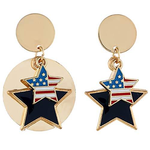 ld Set Creolen hängende Ohrringe Für Damen Einfache Unabhängigkeitstag-Flag Pentagram große Metallohrringe der Frauen Schmuck ()
