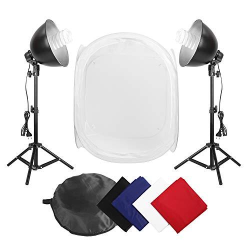 MVPower 60x60x60cm Fotostudio Set Fotozelt Lichtwürfel Fotostudio Ministudio mit 2 Stück 45W Fotolampe Studioleuchte und einer tragbaren Tasche